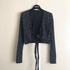 Brandy Melville floral coco long sleeve wrap top